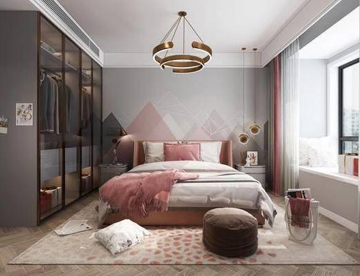 卧室, 双人床, 床头柜, 吊灯, 脚踏沙发, 衣柜, 服饰, 北欧