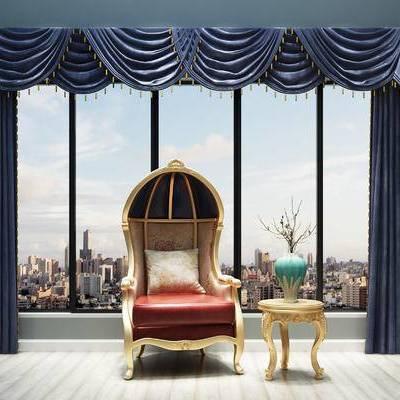 窗帘, 欧式, 欧式沙发, 欧式茶几, 花瓶