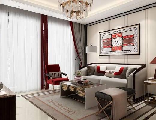 沙发组合, 茶几, 装饰画, 吊灯, 单椅, 电视柜