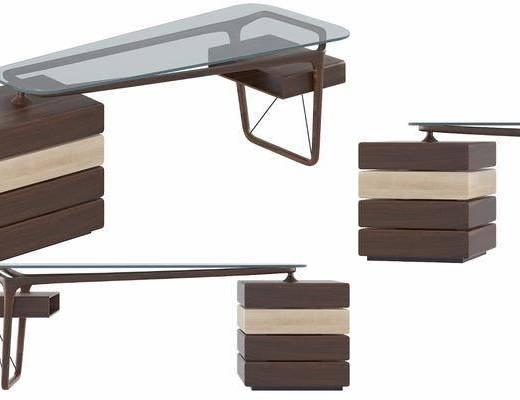 现代玻璃桌办公台, 现代, 办公桌, 柜子