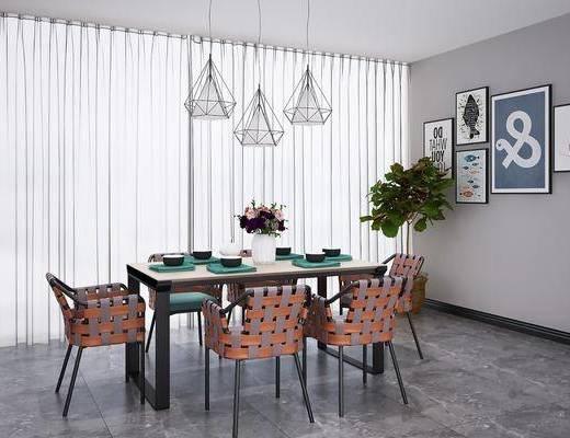 追我组合, 餐桌, 餐椅, 单人椅, 餐具, 吊灯组合, 组合画, 现代