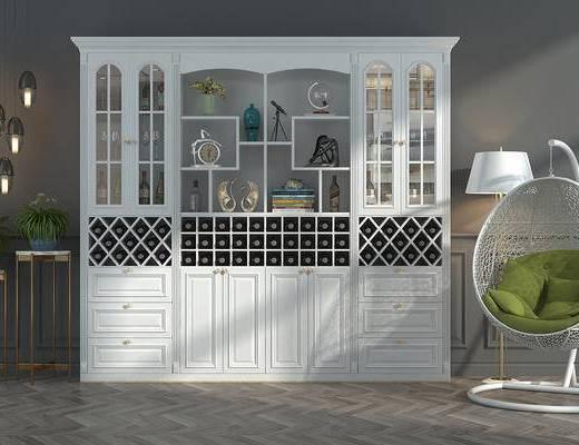 边柜, 装饰柜, 酒驾, 藤椅, 摇椅, 吊椅, 吊灯, 落地灯, 盆景, 植物