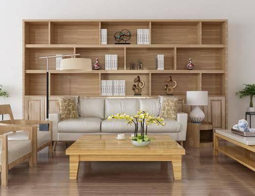 沙发组合, 多人沙发, 边几, 单人椅, 台灯, 装饰架, 盆栽, 绿植, 茶几, 花瓶花卉, 书柜, 摆件, 装饰品, 陈设品, 书籍, 新中式
