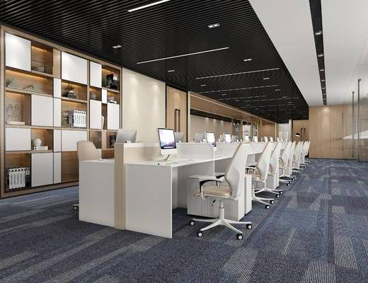 办公室, 办公区, 桌子, 椅子, 电脑, 书柜