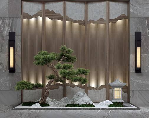 园艺景观, 假山松树, 新中式