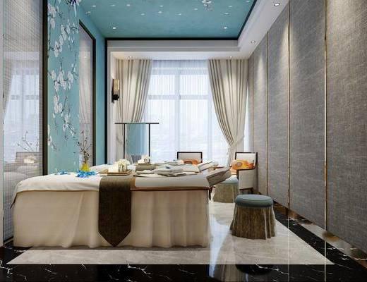 spa包间, 单人沙发, 凳子, 装饰品, 陈设品, 洗手台, 浴盆桑拿, 新中式