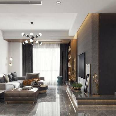 客厅, 餐厅, 客餐厅, 现代, 沙发组合, 多人沙发, 餐桌椅, 桌椅组合