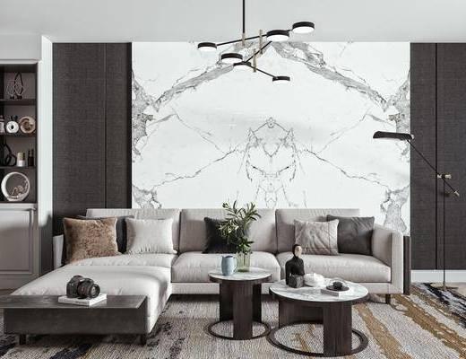 转角沙发, 茶几, 吊灯, 落地灯, 装饰柜, 饰品摆件
