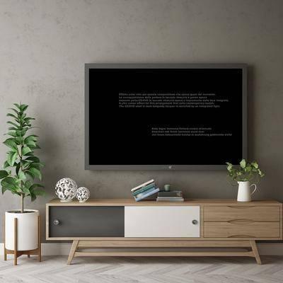 电视柜, 摆件组合, 盆栽植物