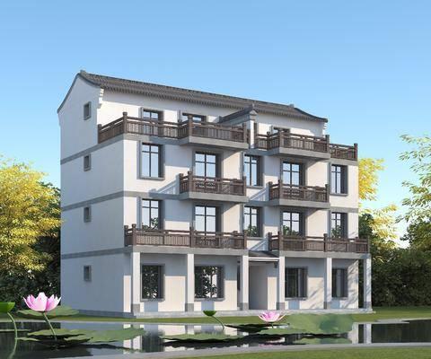 徽派建筑, 三层半别墅, 青瓦白墙, 别墅, 住宅
