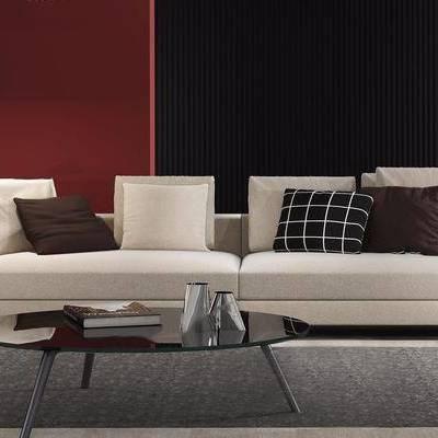 现代多人沙发茶几落地灯组合, 现代, 沙发, 茶几, 落地灯
