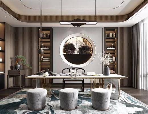 桌椅组合, 装饰柜, 吊灯, 摆件组合