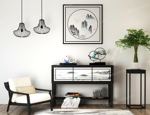 中式, 单人沙发, 单人椅, 边柜, 端景台, 摆件