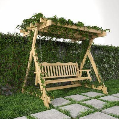 户外摇椅, 绿植, 植物装饰墙, 现代