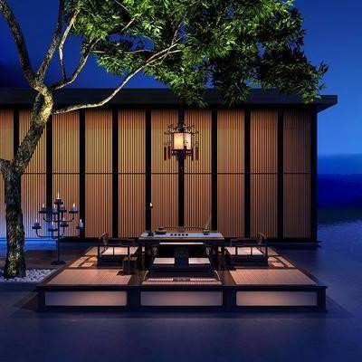 古建, 户外建筑, 树木, 茶具, 茶桌, 榻榻米, 单椅, 装饰灯, 新中式
