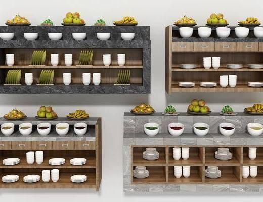 火锅调料台, 展台, 装饰柜, 餐具, 现代