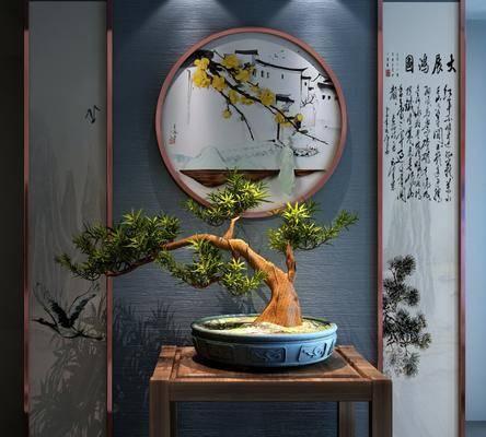 盆栽, 装饰画, 挂画, 新中式