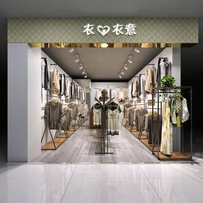 服装店, 女装店, 货架, 中岛, 服装, 衣架, 植物, 盆栽, 后现代
