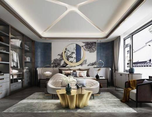 双人床, 床具组合, 墙饰, 衣柜, 单椅, 背景墙, 床头柜, 吊灯