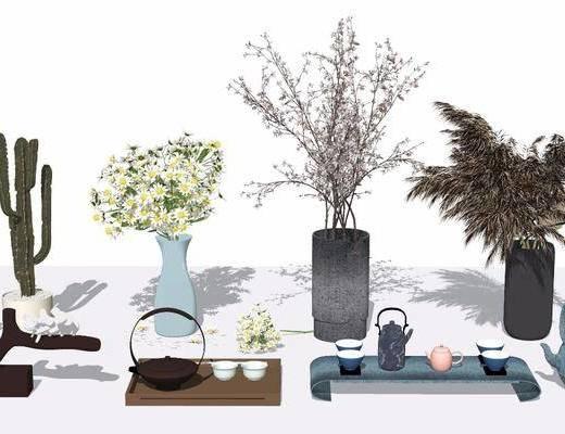 干支, 植物, 花瓶, 摆件组合
