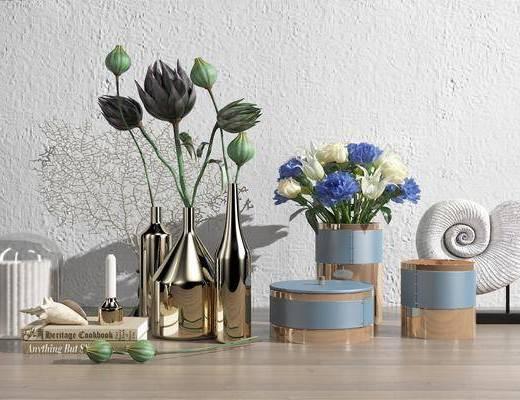 花瓶, 植物, 摆件组合