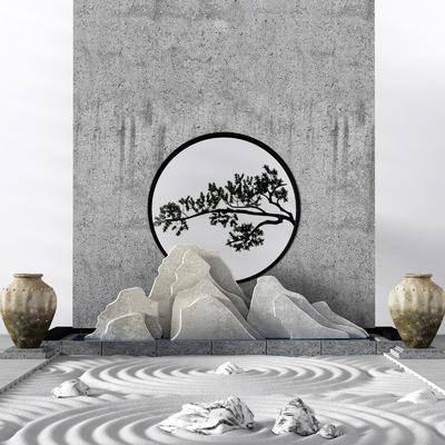 假山, 园艺小品, 景观墙, 山形景观小品, 陶罐, 沙形景观, 假山流水, 新中式