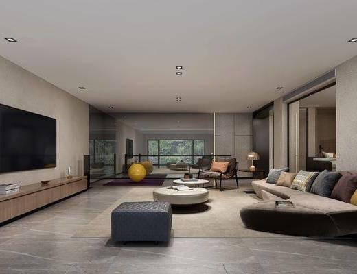 现代客厅, 现代地下室, 客厅, 沙发茶几, 现代沙发, 现代茶几, 电视柜, 瑜伽垫