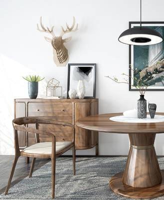 北欧餐桌椅, 北欧, 餐桌椅, 植物, 椅子, 装饰画, 鹿