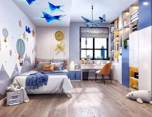 现代儿童房, 儿童房, 北欧儿童房, 双人床, 卧室