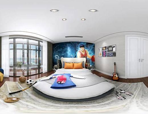 男孩房, 卧室, 篮球, 床, 棒球