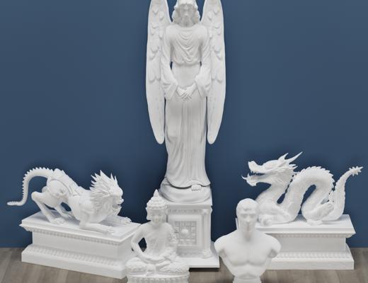 龙, 佛, 天使, 石膏雕塑, 构件