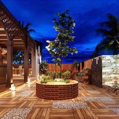 地中海田园户外阳台, 地中海, 花园, 阳台, 植物, 树