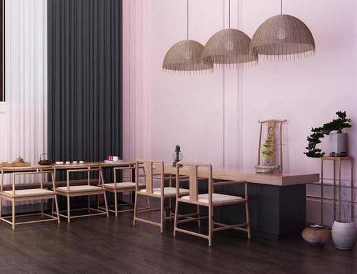 餐椅, 单人椅, 桌子, 茶桌, 装饰架, 吊灯, 盆栽, 新中式