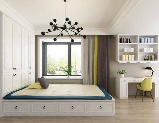 床具组合, 书桌椅组合, 衣柜, 书架, 书籍, 单椅, 现代床具组合, 榻榻米, 吊灯, 现代