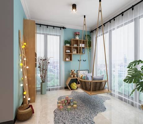 植物, 窗帘, 地毯, 墙饰, 吊椅