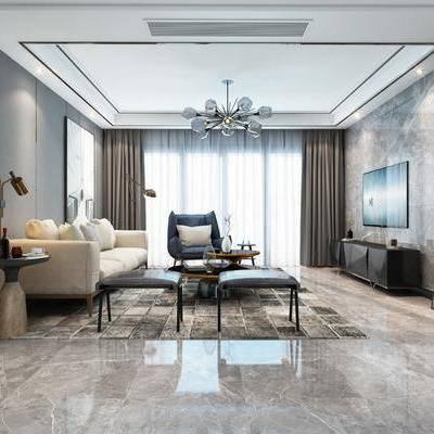 现代客厅, 现代餐厅, 客餐厅, 沙发组合, 沙发茶几组合, 现代沙发