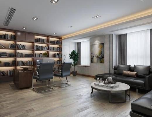 办公室, 现代办公室, 总经理办公室, 办公桌, 办公椅, 书柜, 书籍, 摆件, 沙发组合, 茶几, 现代