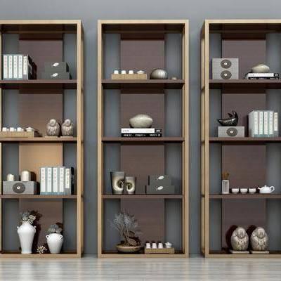 新中式书柜, 新中式, 书柜, 装饰品, 摆件