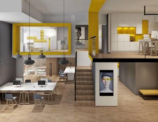 工作室, 办公室, 办公桌椅, 办公, loft