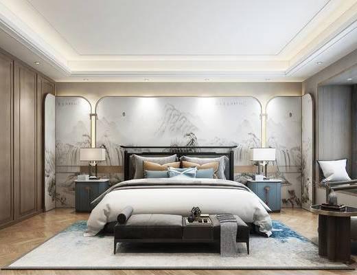双人床, 床尾踏, 背景墙, 衣柜, 单椅, 床头柜, 台灯