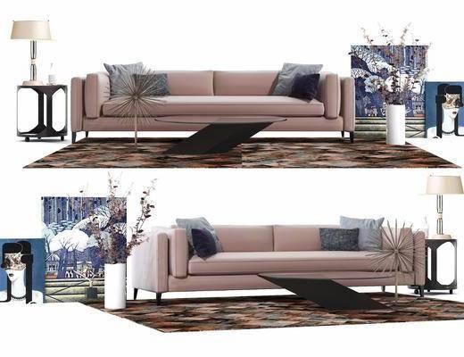 沙发组合, 摆件组合, 现代沙发, 圆几, 台灯, 现代