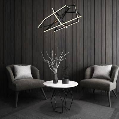单人沙发, 边几, 落地灯, 吊灯, 现代, 北欧