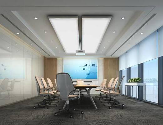 会议室, 会议桌, 办公椅, 投影仪, b