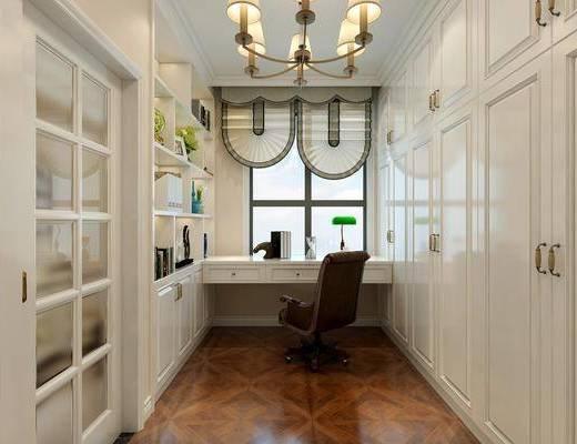 书房, 书桌, 单人椅, 衣柜, 装饰柜, 吊灯, 书柜, 摆件, 装饰品, 陈设品, 台灯, 简欧