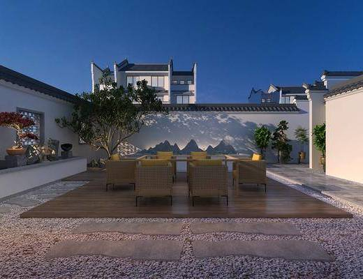 庭院, 商業樓盤, 桌椅組合, 樹木, 綠植植物, 盆栽組合, 新中式