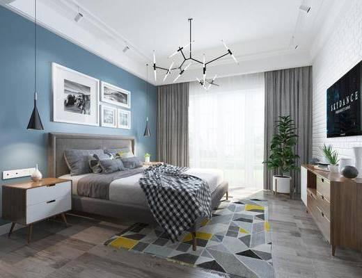 卧室, 双人床, 床头柜, 吊灯, 装饰画, 挂画, 组合画, 电视柜, 边柜, 盆栽, 绿植植物, 摆件, 装饰品, 陈设品, 北欧