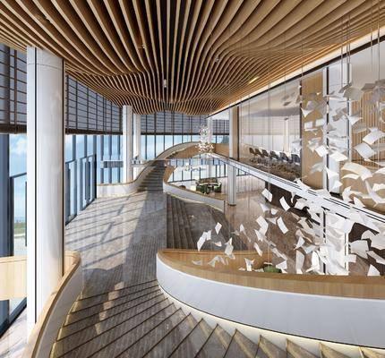 大堂楼梯, 售楼处, 吊灯, 现代