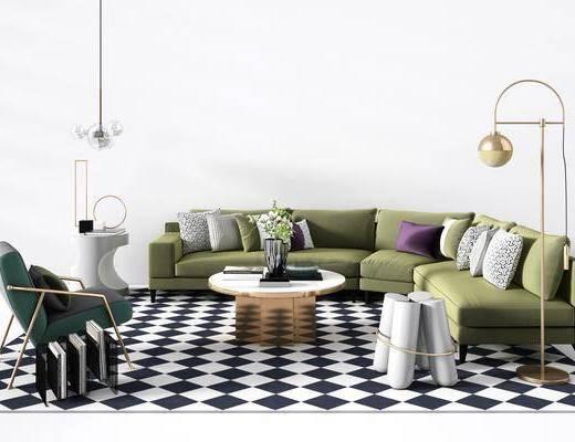 现代, 沙发组合, 多人沙发, 单人沙发, 落地灯, 吊灯, 边几, 茶几, 凳子, 地毯