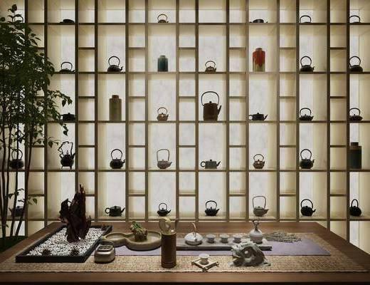 茶室, 装饰架, 树木, 绿植植物, 茶具, 新中式