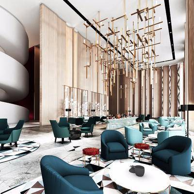 酒店会所, 单人沙发, 茶几, 吊灯, 落地灯, 装饰品, 陈设品, 单人椅, 新中式